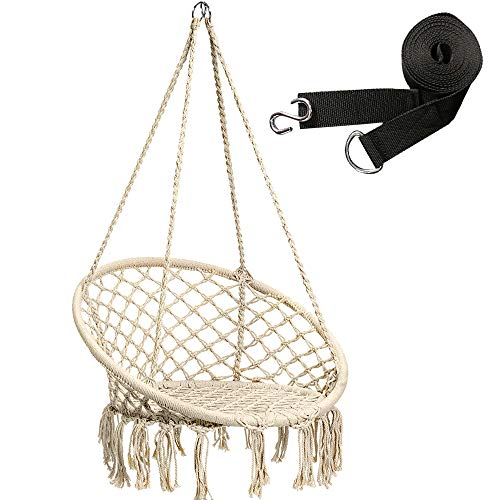 Casolly Hammock Chair Hanging Cotton Rope Macrame Swing Chair 265Lbs Capacity with an Addition Pair Swing Strap – Beige Review