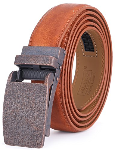 Marino Avenue Men's Genuine Leather Ratchet Dress Belt with Linxx Buckle - Gift Box (Tan - Style 167, Adjustable from 38