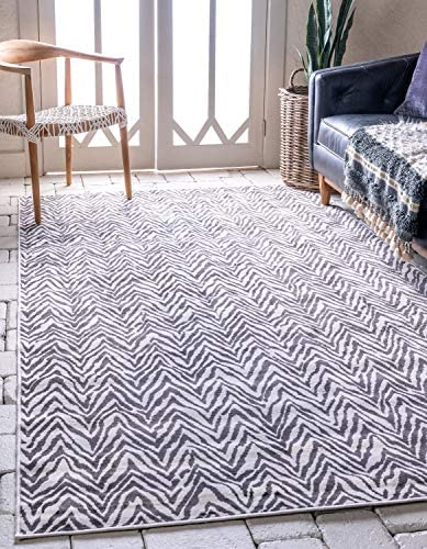 Unique Loom Outdoor Oasis Collection Modern Chevron Transitional Indoor and Outdoor Flatweave Dark Gray Area Rug 8' 0 x 10' 0