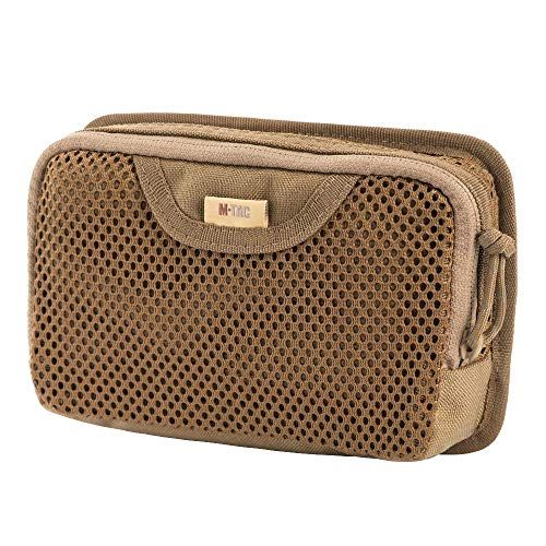 M-Tac Tactical Bag Insert Modular Organizer Utility Admin Pouch Hook Fasteners - Mesh Pocket (Coyote Brown)