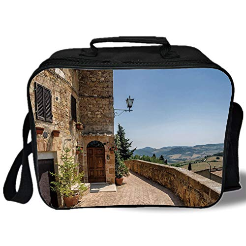 Italian Decor 3D Print Insulated Lunch Bag,The Walls of Pienza in Tuscany Historical European Landmark,for Work/School/Picnic,Light Brown Green Light Blue ()