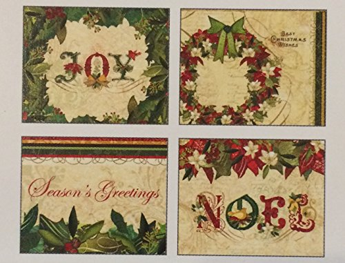 (Boughs of Holly Joy Christmas Holiday Gift Enclosure Cards 12 Pack Variety 3.5