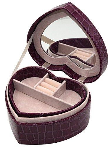 Soldcool Heart Shape Jewelry Box Display Organizer Holder with Mirror PU Leather Travel Case Storage Box (Purple) ()