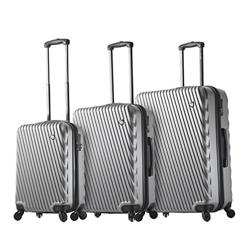 Mia Toro Italy Roulgatti Hardside Spinner Luggage 3pc Set-Silver, One Size