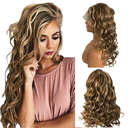 Loose Wave Human Hair Wigs Highlight Ombre Brown 13x4 Lace Front Wig Brazilian Remy Pre Plucked with Baby Hair Balayage Blonde 613 Bouncy Wavy Lace Wig for Women 14 Inch (Dark Brown Hair With Blonde Ombre Highlights)
