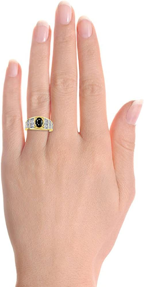 Diamond /& Onyx Ring Set In Yellow Gold Plated Silver Color Stone Birthstone Ring