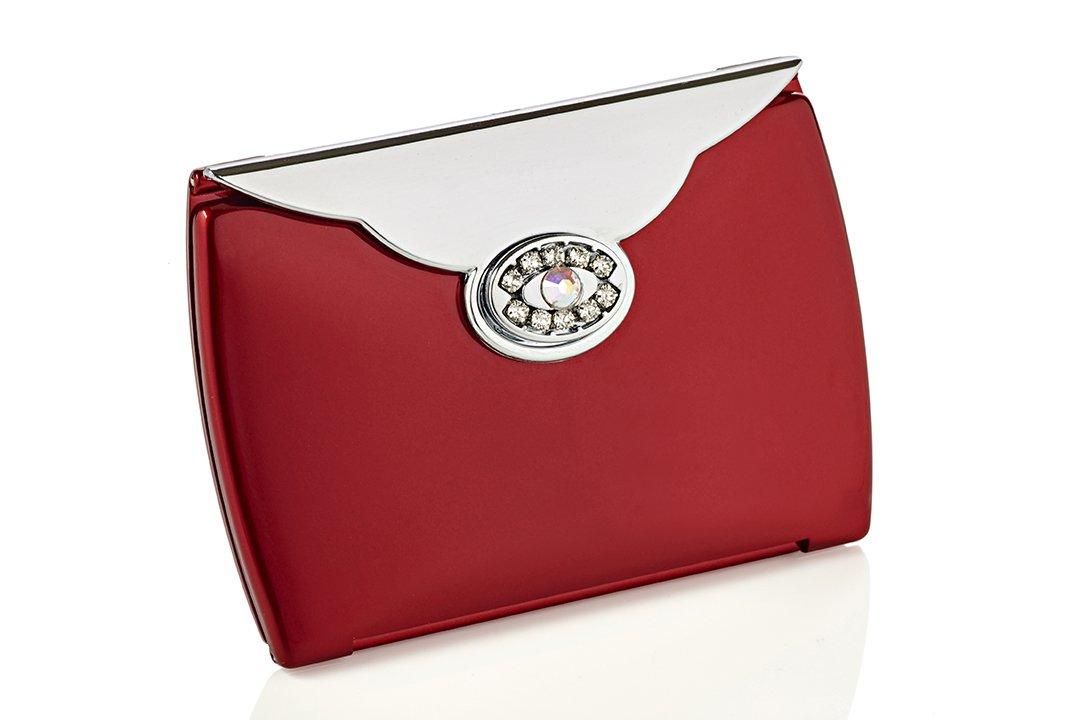 Espejo de bolso rojo de strass Swarovski Novex
