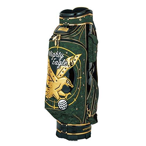 影妻オデュッセウスWINWIN STYLE(ウィンウィンスタイル) キャディーバッグ PREMIUM MIGHTY EAGLE CART Bag Gold Ver. 9.0型 47インチ対応 限定モデル ユニセックス CB-345 グリーン デザイン:エナメルアップリケ刺繍