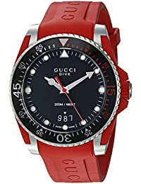 61094e5968a Quartz Stainless Steel and Rubber Casual Red Men s Watch(Model  YA136309).  Gucci