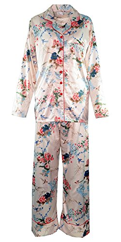 Floral Satin Pajamas (Amazing Grace Elephant Co Women's Floral Print Satin Pajama Set (Beige Spring Floral, Large))