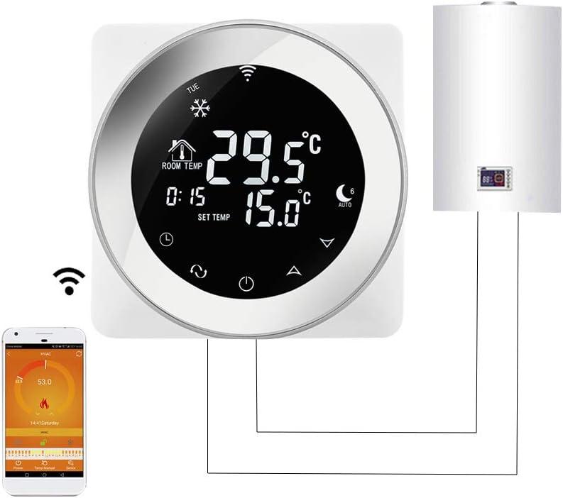 Beok TGR87WIFI-WPB 230V 3A runder Gaskessel Touchscreen Raumthermostat W/öchentlich programmierbarer intelligenter Temperaturregler