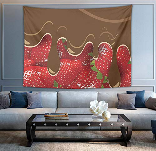 - NiYoung Gift - Strawberries Melted Chocolate Confectionery Fruit Sweet Tapestry, Wall Hanging Tapestry Art, Bohemian Blanket Bedspread Beach Throw for Bedroom Living Room Collage Dorm, 60 x 90 Inch