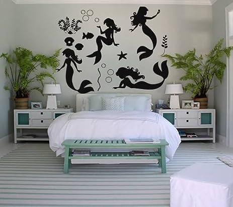 mermaid decor for bedroom amazoncom wall decals mermaid decal vinyl sticker bathroom