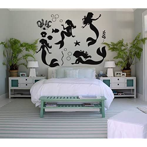 mermaid bedroom decor. Wall Decals Mermaid Decal Vinyl Sticker Bathroom Window Nursery Children  Bedroom Hall Home Decor Dorm Interior Art Murals MN791 for Amazon com