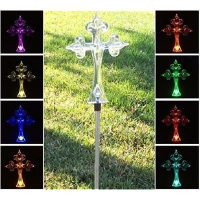Florals Solar Cross Light, Solar Powered Garden Decor Stake Color Changing Yard LED Outdoor Landscape Light : Garden & Outdoor