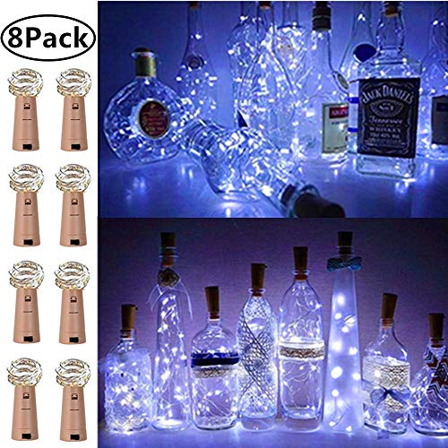 8 Color KZOBYD 8 Color Bottle String Lights 8 Pack Bottle Fairy Lights Battery Operated+8 Replacement Battery 20LED Lights for Bottles Christmas Wedding Party Wine Gifts Bar Lights Decor