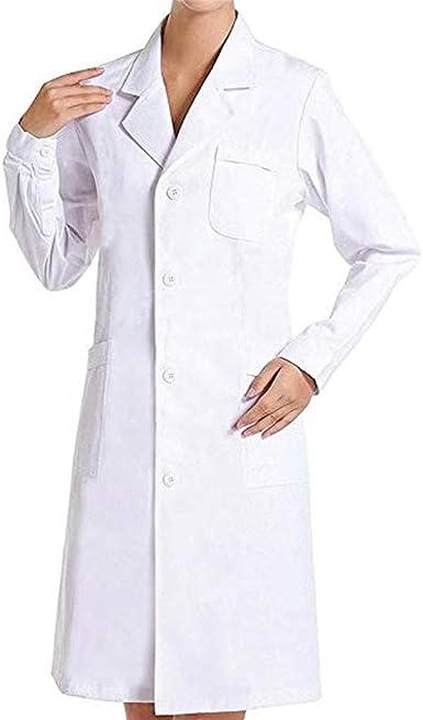 Camici Bianco Laboratorio Uomo,Camicia Lunga Unisex Cappotto Sanitari per Studenti di Scuola per Studenti di Arte Camice Laboratorio Chimica Ragazzo Medico Ospedale
