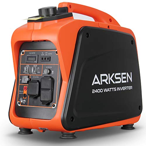 Arksen 2400W Super Quiet Portable Gas-Powered Inverter Generator With 120V 20A AC Outlet ,CARB EPA Compliant For for Road Trip Camping Travel Emergency Backup