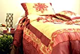DaDa Bedding Embellished Ruffles Solar Rubies Coverlet Bedspread Comforter Set - Bordered Bright Vibrant Colorful Red & Creme Floral Medallion Print - Twin - 3-Pieces