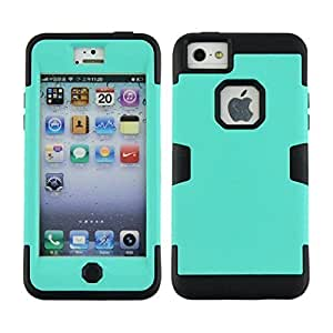 fenglinliniPhone 5C Case, 5C Case, Magicsky iPhone 5C 3 in 1 Combo Tuff Hybrid Shockproof Case Cover Protective Case for Apple iPhone 5C, 1 Pack(Black/Mint Green)