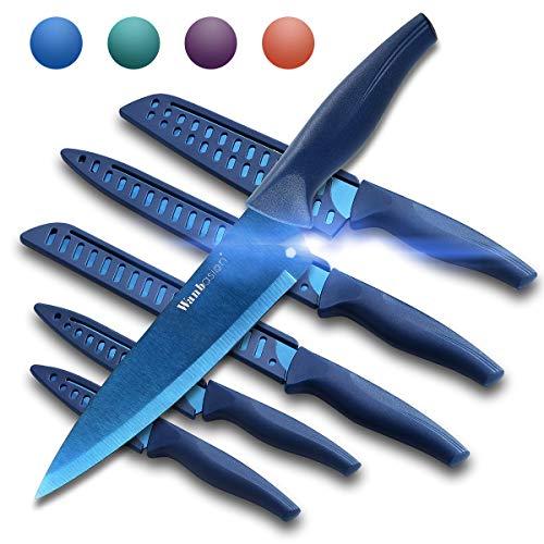 Wanbasion Blue Professional Kitchen Knife Chef Set, Kitchen Knife Set Stainless Steel, Kitchen Knife Set Dishwasher Safe…
