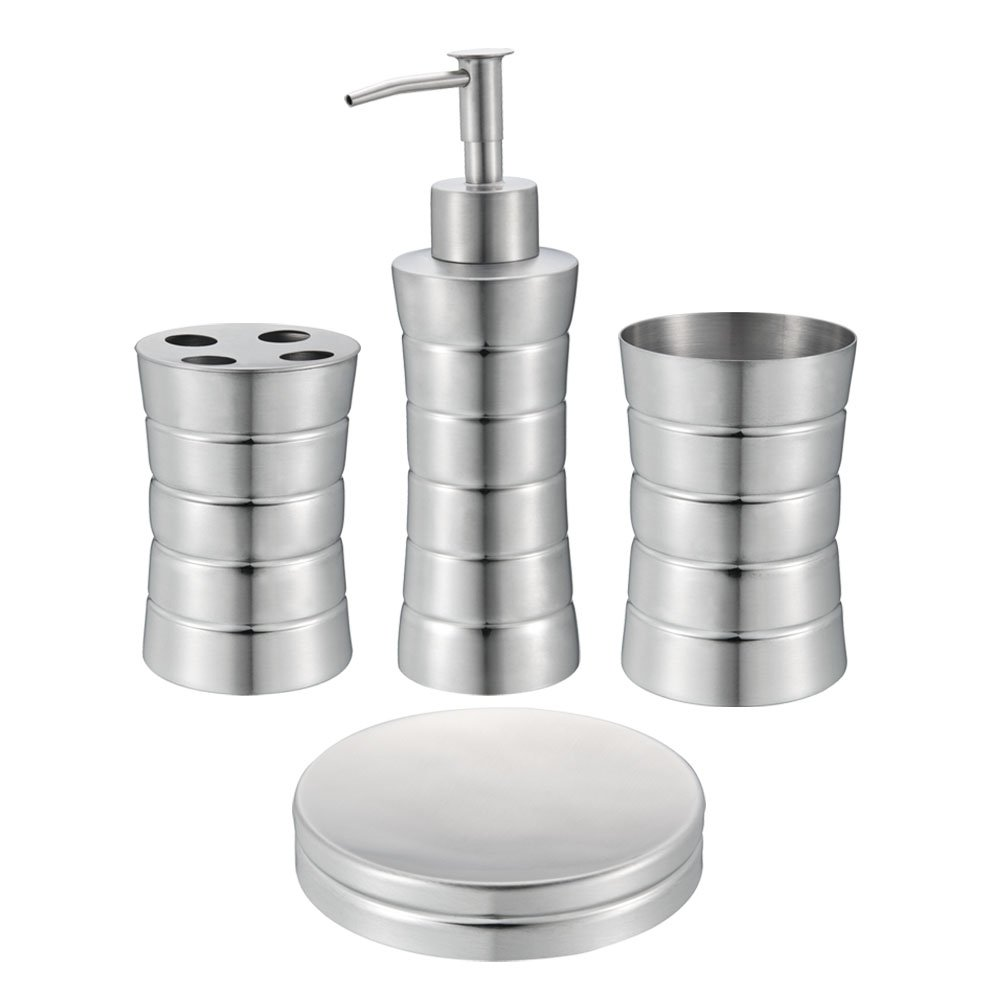Silver bathroom accessories sets - Amazon Com Stainless Steel Bath Set Soap Dispenser Toothbrush Holder Soap Dish Tumbler Etched Square Matte Finish Beauty