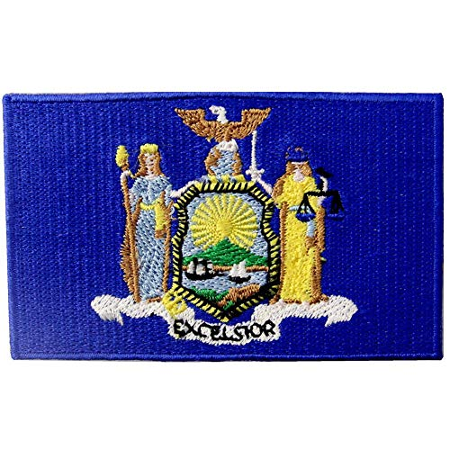 New York State Flag NY Patch Embroidered Iron On Sew On Emblem