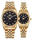 Couple Watches Swiss Brand Golden Watch Men Women Stainless Steel Waterproof Quartz Watch Gift Set (Black)
