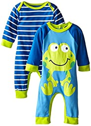 Gerber Baby-Boys Newborn Frog 2 Pack Coverall, Frog, 3-6 Months