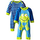 Gerber Baby-Boys Newborn Frog 2 Pack Coverall, Frog, 0-3 Months