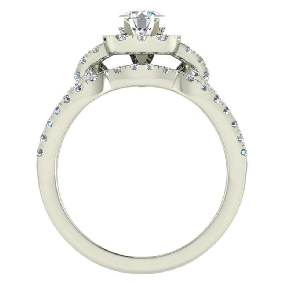 Diamond Loop Shank Cushion Shape Wedding Ring Set 1.05 Carat Total Weight 14K White Gold (Ring Size 5.5) by Glitz Design (Image #3)