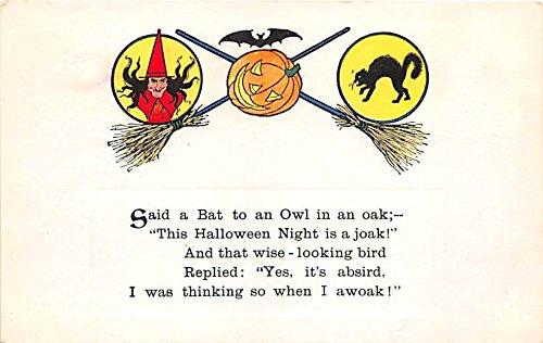 Witch, Pumpkin, Black Cat Halloween Postcard Old Vintage Post Card]()