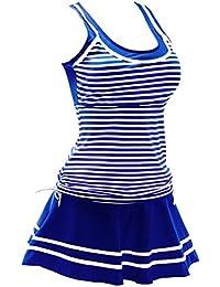 Women's Plus-Size Polka Dot Shaping Body Swim Dresses Swimsuits