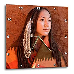 3dRose DPP_92706_2 New Mexico, Cherokee Woman, Native American-US32 JMR0634-Julien McRoberts-Wall Clock, 13 by 13-Inch