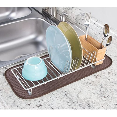 mDesign Compact Kitchen Dish Drainer Rack for Drying Glasses, Silverware, Bowls, Plates - Satin/Natural by mDesign