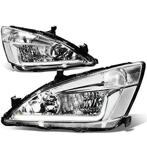For 03-07 Honda Accord 7th Gen UC1 Pair of Chrome Housing Clear Corner Headlights + LED DRL