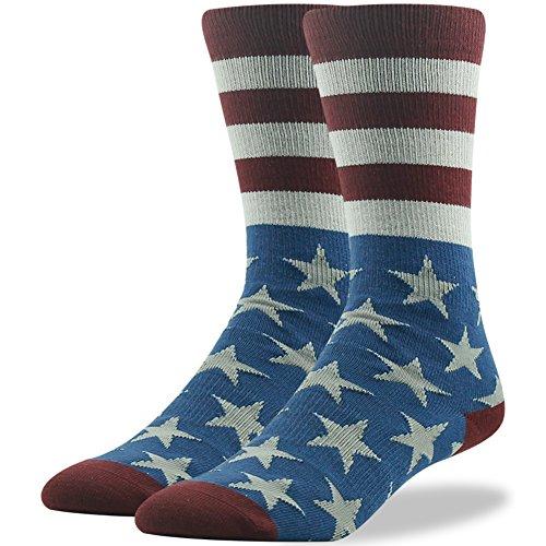 Helloween Socks for Adults, Ristake Men's Women's American Flag Casual Fun Fashion Patterned Cotton Crew Dress Socks for Sports Wedding Day Groomsmen, 1 Pair, Medium, Navy