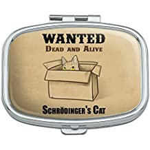 Schrodinger's Cat Wanted Dead Alive Rectangle Pill Case Trinket Gift Box