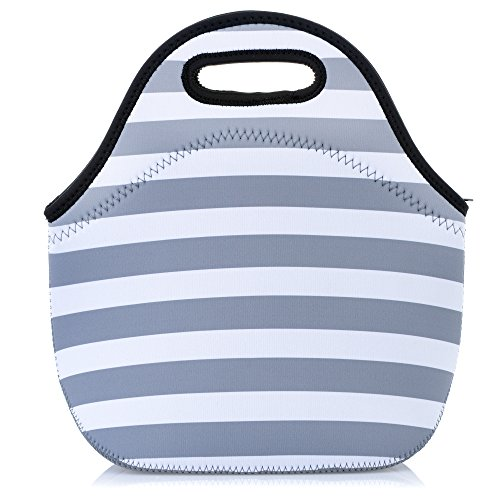 Neoprene Lunch Bag, Eco- Friendly Lunch Tote Bag For Women And Adults. Waterproof Insulated Travel Cooler Lunch Box-Gray White Stripes