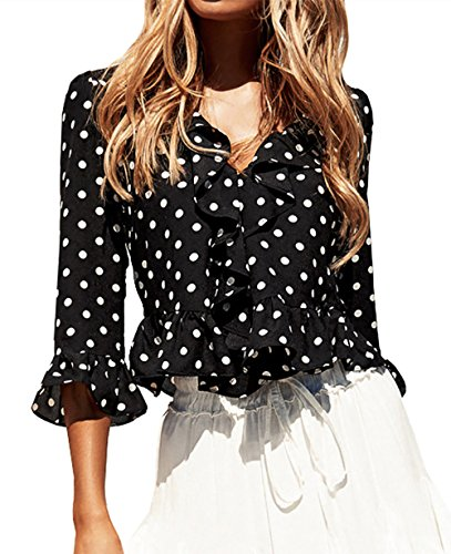 FOUR CLOUR Women's Ruffle Deep V Neck 3/4 Sleeve Shirts Retro Polka Dot Crop Blouse (Dot Blouse Ruffle)