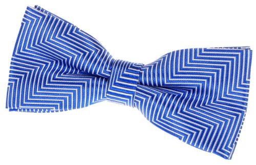 """Retreez Herringbone Stripe Woven Pre-tied Bow Tie (4.5"""") - Royal Blue"""