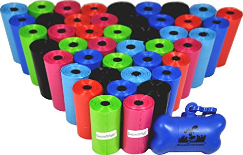 Downtown Pet Supply 880 Pet Waste Bags, Dog Waste Bags, Bulk Poop Bags on a roll, Clean up poop bag refills - (Color: Rainbow of Colors) by