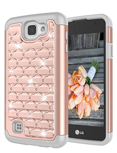 LG Rebel LTE Case, LG K4 Case, LG Optimus Zone 3/Spree Case, Jeylly [Diamond Star] Hybrid Rubber Plastic Shock Absorbing Studded Rhinestone Crystal Bling Armor Defender Rugged Case Cover - Rose Gold
