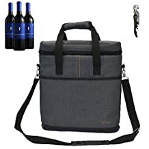 Vina 3 Bottle Wine Carrier - Travel Insulated Wine Carrying Case Tote Bag for Champagne Picnic Cooler Gray + Free Corkscrew by VINA