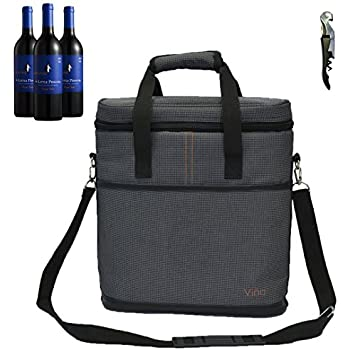 Vina 3 Bottle Wine Carrier - Travel Insulated Wine Carrying Case Tote Bag Case for Champagne Picnic Cooler Gray + Free Corkscrew