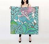 ''MerCess I am the Sea and the Sea is Me'' Tiki Tales Luxury Silk Charmeuse Scarf 36 x 36