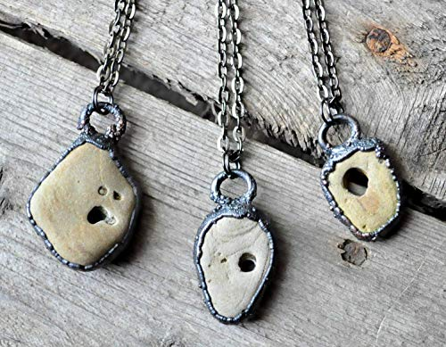 (Natural Hag Stone (Wishing Stone) Necklace with Gunmetal Copper Accent- Adder Stone - Witch Stone - Holey Stone - Odin Stone)