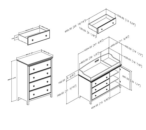 South Shore Cotton Candy Changing Table and 4-Drawer Chest, Soft Gray by South Shore (Image #2)