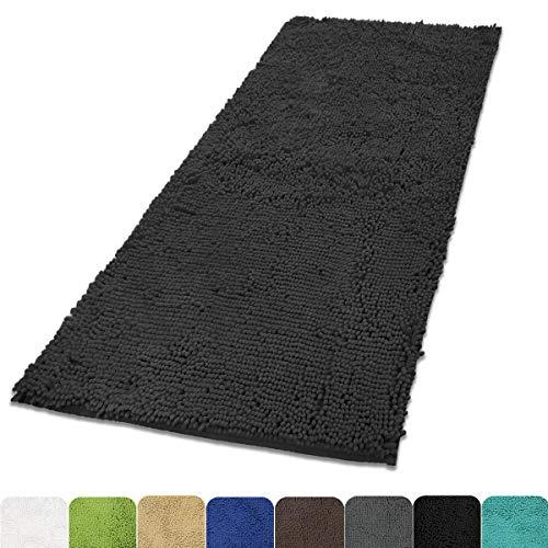 MAYSHINE Chenille Dog Door mat 31x59 Runner for Front Inside Floor Dirty Trapper Doormats Quick Drying Washable Prevent Mud Dirt   Dark Gray
