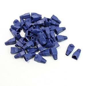 50 piezas de plástico anti-polvo botas de tapones embellecedores de azul para RJ45 conector